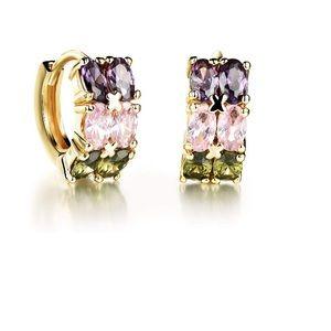 Double Rainbow Crystal Huggie Earrings